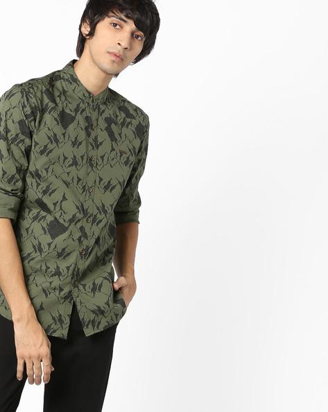 Printed Shirt With Mandarin Collar By WRANGLER ( Green )