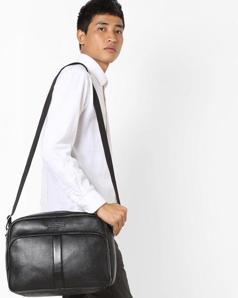 Genuine Leather Messenger Bag By JUSTANNED ( Black )