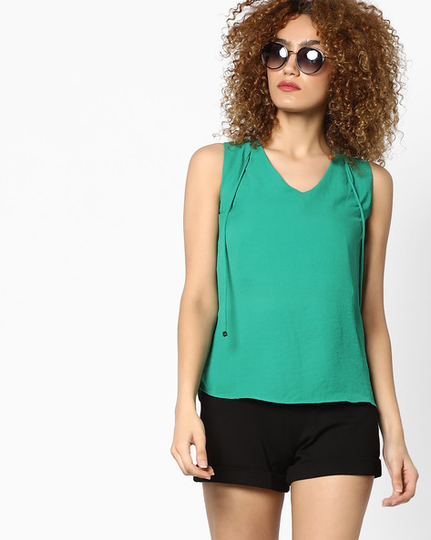 Sleeveless Top With Tie-Up By CODE By Lifestyle ( Green )