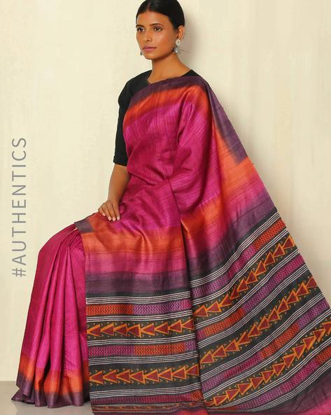 Handblock Print Pure Silk Desi Tussar Handloom Saree By Sujata Weaves And Prints ( Magenta )