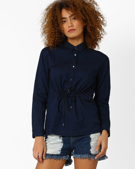 Shirt Top With Waist Tie-Up By Wills Lifestyle ( Blue )
