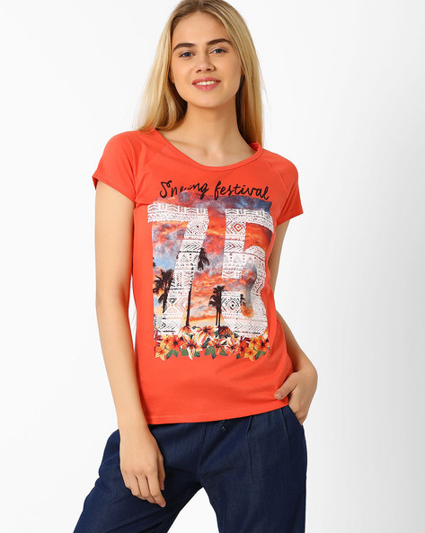 Graphic Print T-shirt By Ajile By Pantaloons ( Orange )