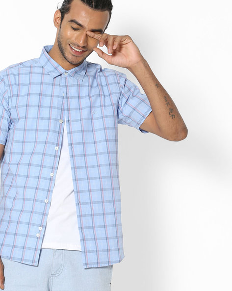 Checked Shirt With Spread Collar By UNITED COLORS OF BENETTON ( Multicolor )