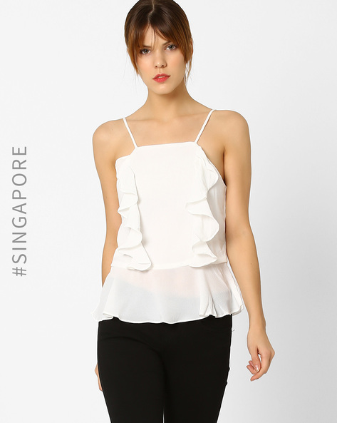 Ruffled Strappy Top By MDS ( White )