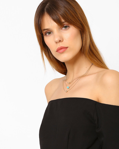 Multistrand Metal Necklace By Ayesha ( Gold )