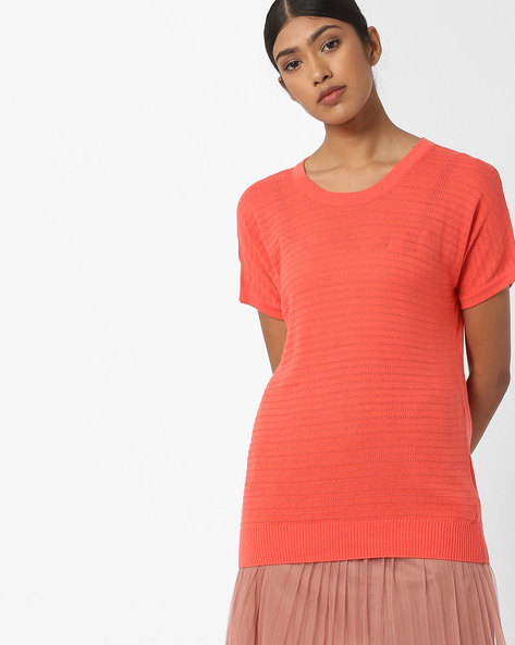Flat Knit Top With Drop Shoulders By FIG ( Coral )