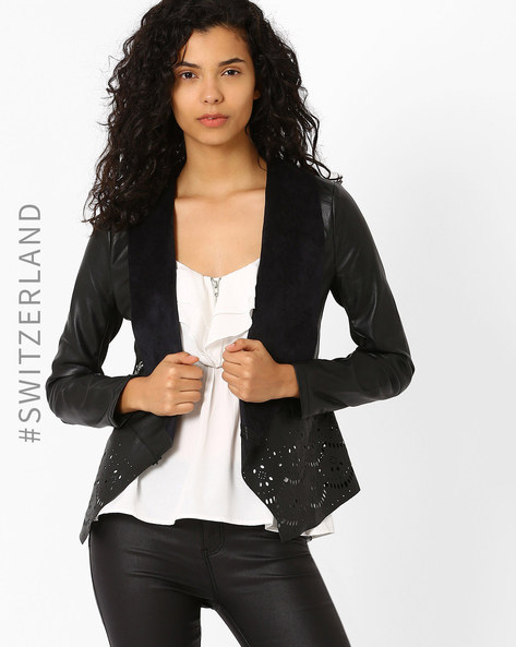 Jacket With Waterfall Lapel & Laser Cut-Outs By TALLY WEiJL ( Black )