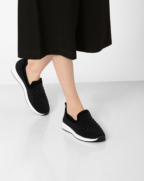 Embellished Casual Slip-Ons By Jove ( Black )