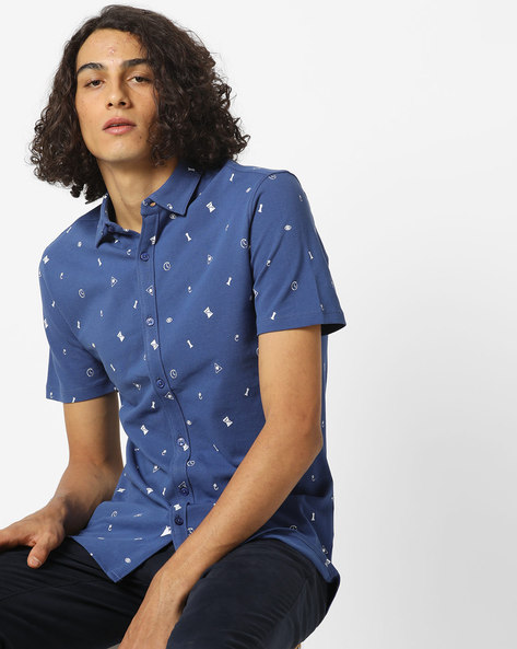 Printed Shirt With Spread Collar By AJIO ( Navy )