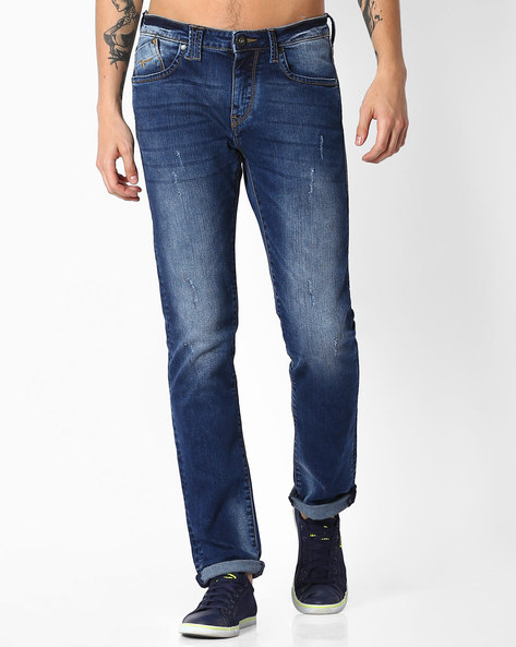 Lightly Distressed Slim Fit Jeans By FLYING MACHINE ( Blue )