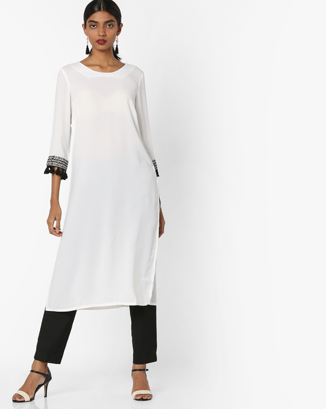 Tunic With Embroidered Sleeve Hems By AJIO ( Ivory )