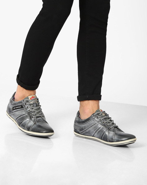 Genuine Leather Lace-Ups By Lee Cooper ( Grey )
