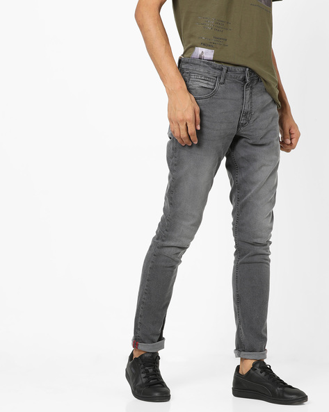 Lightly Washed Slim Fit Jeans By Locomotive ( Grey )