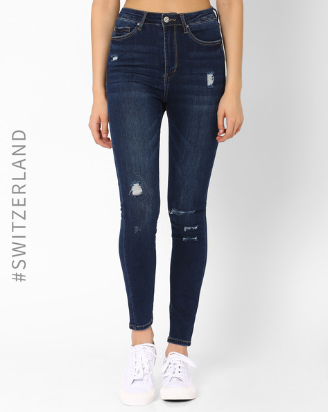 Distressed Skinny Jeans By TALLY WEiJL ( Dkblue )