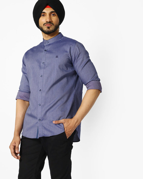 Ditsy Print Shirt With Mandarin Collar By UNITED COLORS OF BENETTON ( Purple )