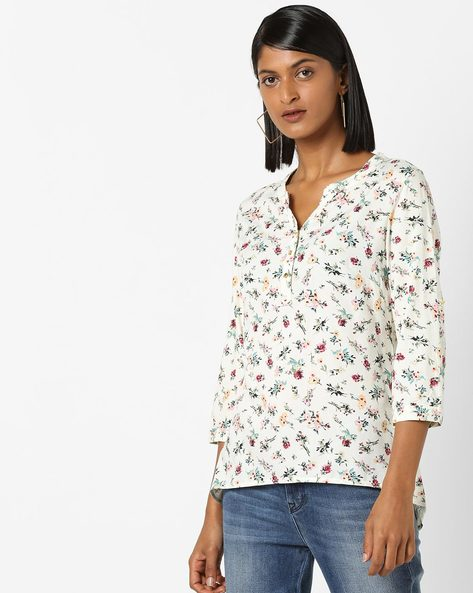 Floral Print High-Low Top By FIG ( White )