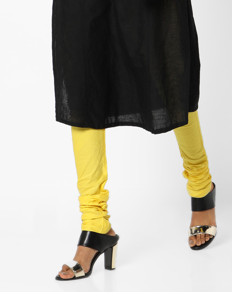Churidar Pants With Waist Tie-Up By AJIO ( Yellow )