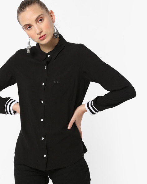 Striped Cuff Shirt With Contrast Placket By Lee ( Black )