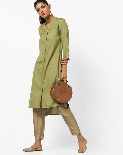 High-Low Straight Kurta With Embroidery By AJIO ( Olive )