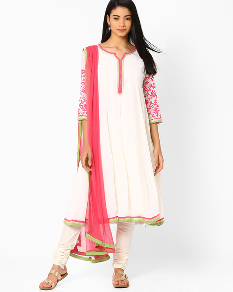 Flared Churidar Kurta With Dupatta By AJIO ( Offwhite )