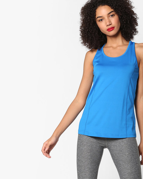 Panelled Racerback Top By Project Eve WW Athleisure ( Blue )