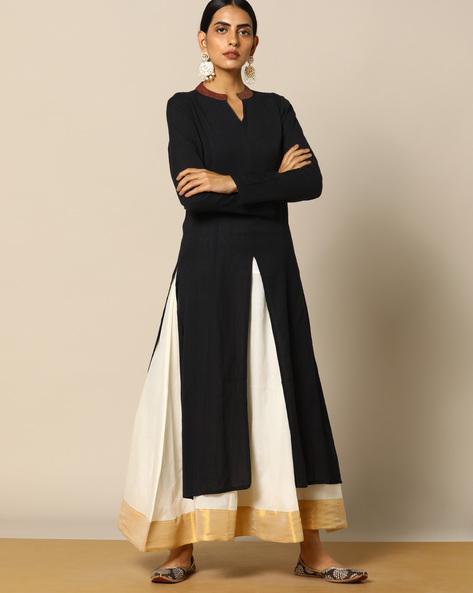 Handloom Cotton Kurta With Constrast Collar By Pilgrim ( Black )