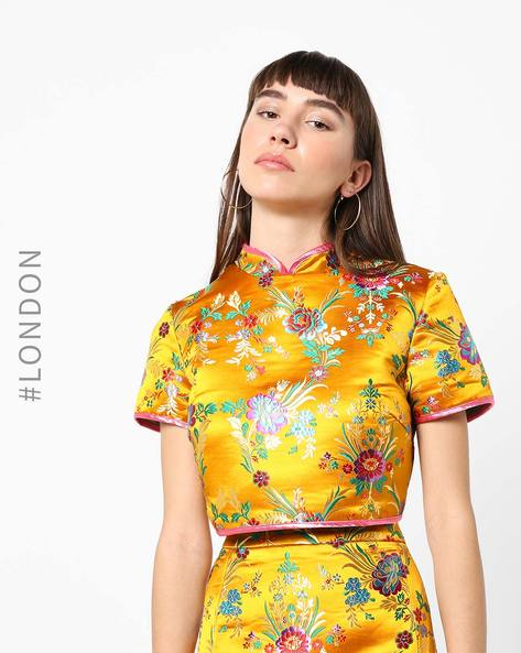 Floral Print Top With Back Tie-Ups By Glamorous ( Yellow )