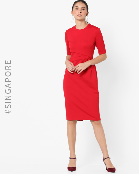 Panelled Sheath Dress With Back Zip By MDS ( Red )