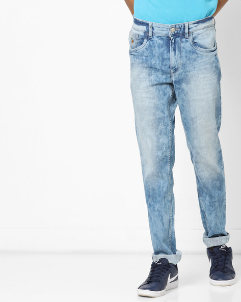 Regallo Acid-Wash Skinny Jeans By US POLO ( Blue )