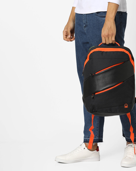 Panelled Backpack With Contrast Zippers By UNITED COLORS OF BENETTON ( Black )
