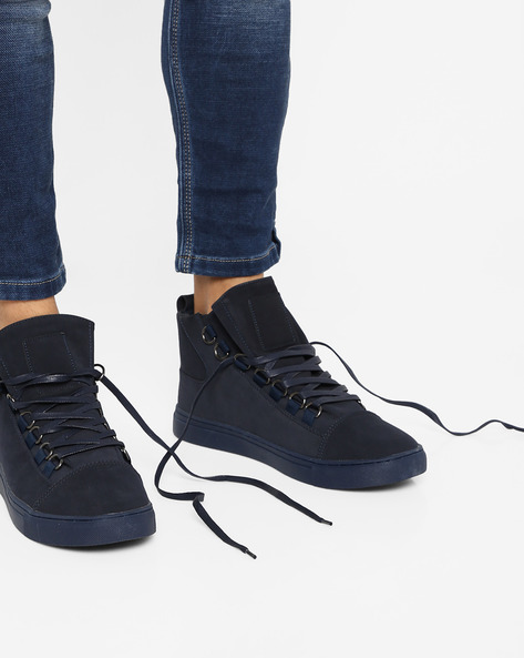 Panelled Mid-Top Lace-Up Sneakers By AJIO ( Navy )