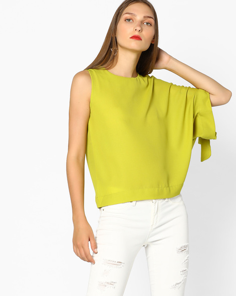 Boxy Top With Asymmetric Sleeves By AJIO ( Limegreen )