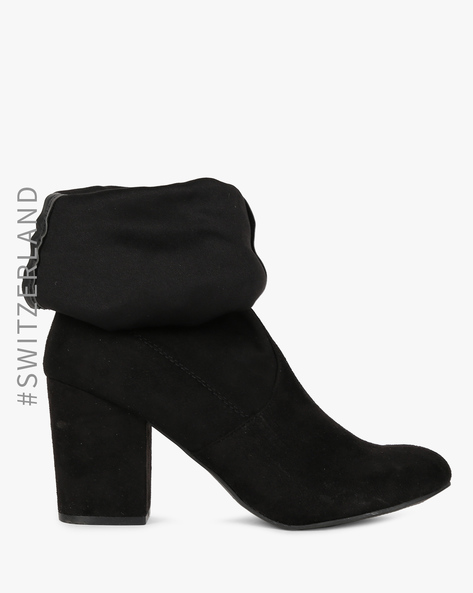 Panelled Boots With Textured Collar By TALLY WEiJL ( Black )
