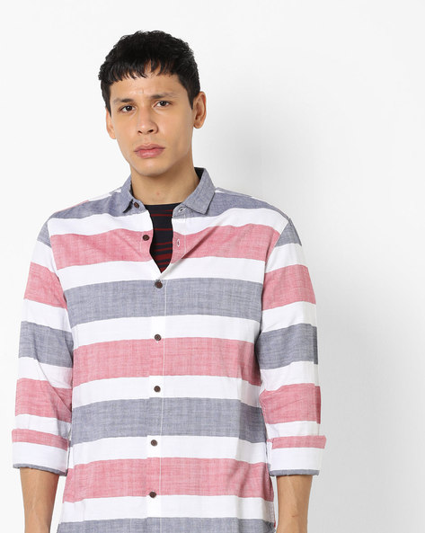 Slim Fit Striped Shirt With Button-Down Collar By AJIO ( White )