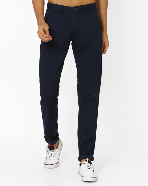 Tapered Fit Stretch Chinos By BASICS ( Navy )