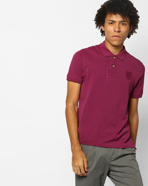 Polo T-shirt With Ribbed Hems By FLYING MACHINE ( Assorted )