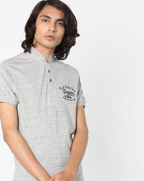 Speckled High-Neck T-shirt By US POLO ( Ivory )