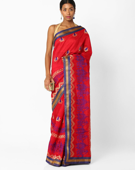 Floral Embroidered Saree By Amori ( Red )