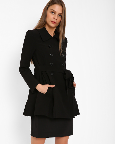 Double-Breasted Trench Coat By AJIO ( Black )