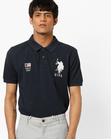 Slim Fit Cotton Polo T-shirt By US POLO ( Navy )