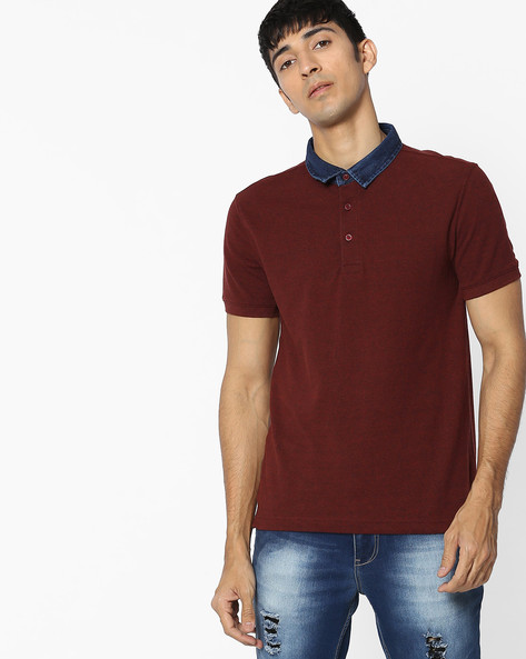 Polo T-shirt With Contrast Collar By LEVIS ( Brown )