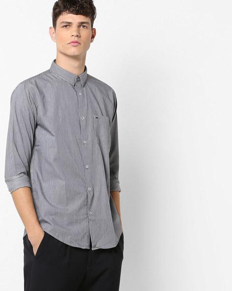 Striped Slim Collar Shirt With Patch Pocket By BASICS ( Black )