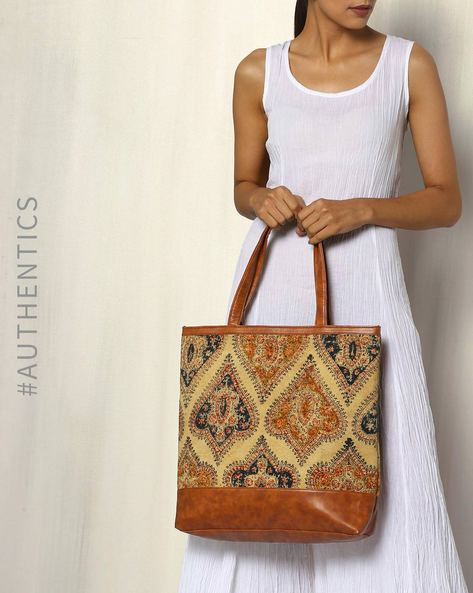 Handblock Print Kalamkari Kilim Tote Bag By A BIG INDIAN STORY ( Tan ) - 460083797001