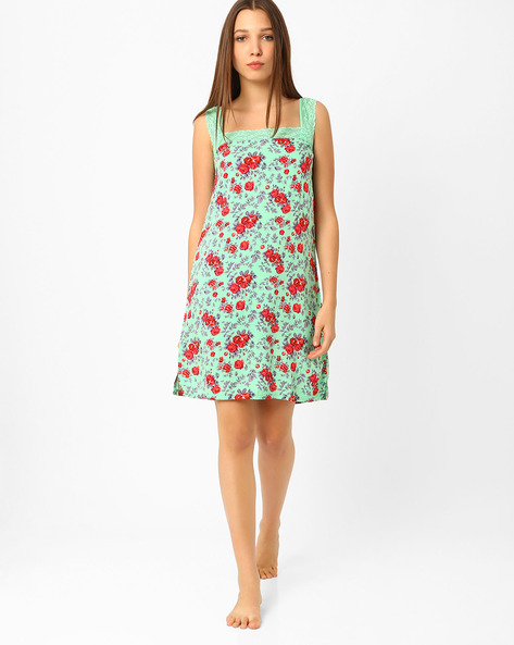 Floral Print Lounge Dress By Heart 2 Heart ( Green )