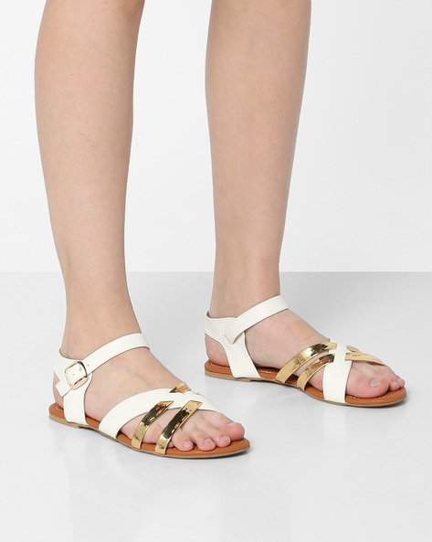 Strappy Flat Sandals With Buckle Closure By Project Eve ( White )