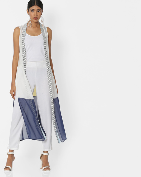 Open-Front Long Shrug With Side Slits By W ( White )