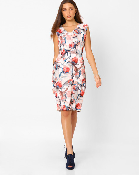 Floral Print Bodycon Dress By AJIO ( Red )