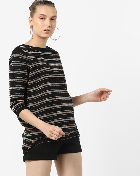 Striped Knit Top With Ribbed Hems By LEVIS ( Black )