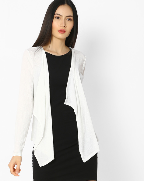 Waterfall Shrug With Floral Lace Panel By Vero Moda ( White )