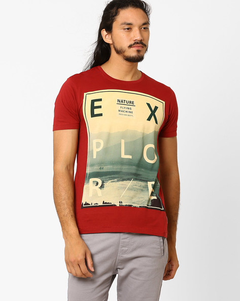 Graphic Print Slim T-shirt By FLYING MACHINE ( Assorted ) - 440720354004